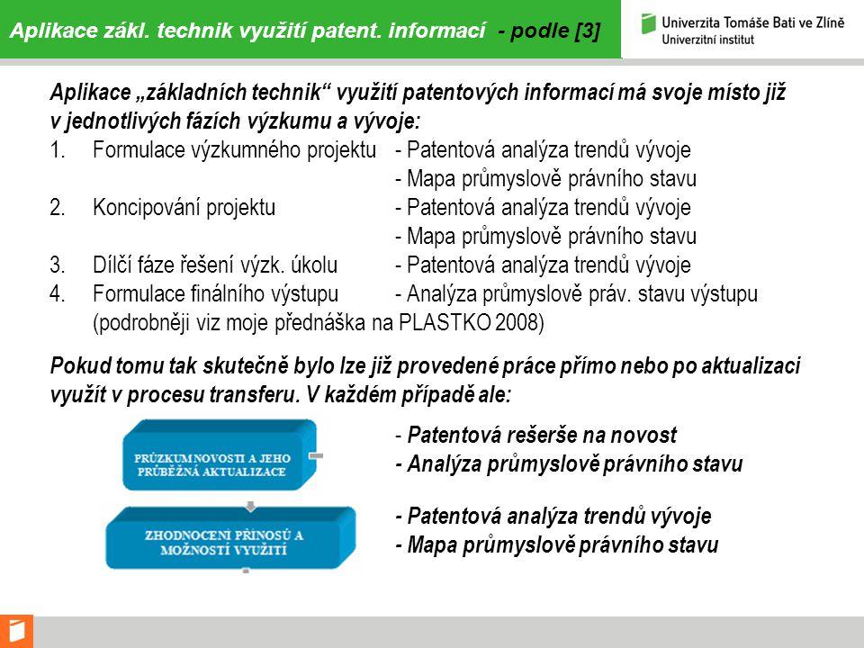 Aplikace zákl. technik využití patent. informací - podle [3]